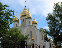 The park next to the Temple of the Blessed Matrona of Moscow, Dmitrov district of the city of Moscow Royalty Free Stock Photography