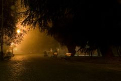 Park by night. In lantern lighting stock photos