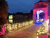 Park night or Illumina at the german castle Schloss Dyck stock images