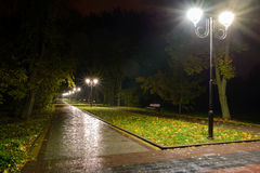 Park night lanterns lamps: a view of a alley walkway, pathway in a park with trees and dark sky as a background at an summer eveni Royalty Free Stock Images