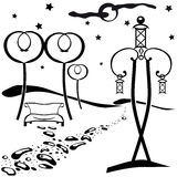 Park at night. The outline abstract black and white illustration of the park at night Stock Photo