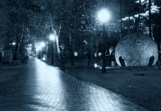 Park night pathway Stock Photography