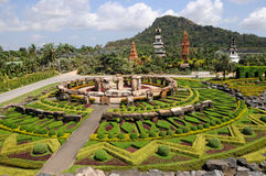 Park nong nooch in Thailand. Shrubberies grow in geometric figures stock photos