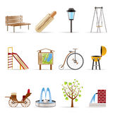 Park objects and signs icon. Vector icon set Stock Image