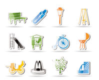Park objects and signs icons Stock Photos