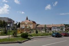 Park in Ocna Sibiu, Romania. Central park in sunny day in Ocna Sibiu, Romania Cityhall in background stock images