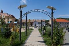 Park in Ocna Sibiu, Romania. Central park in sunny day in Ocna Sibiu, Romania stock images