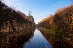 Park in Oliwa. River in park at autumn. Oliwa, Poland Stock Photo