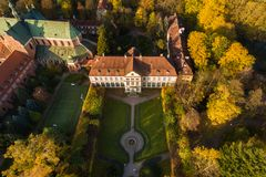 Park Oliwa in Sopot, top view. Aerial view of the Oliwa park in Sopot in autumn Royalty Free Stock Images