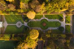 Park Oliwa in Sopot, top view. Aerial view of the Oliwa park in Sopot in autumn Royalty Free Stock Photo