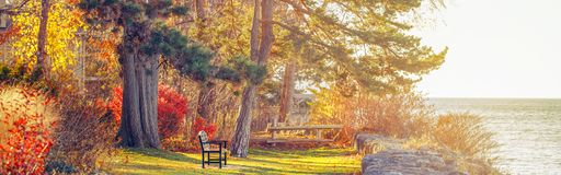 Park with one lonely old bench on bank shore near water lake. Web header banner for website