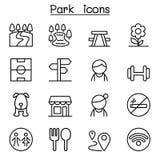 Park, openbaar park, nationaal park, tuinpictogram dat in dunne lijn s wordt geplaatst vector illustratie