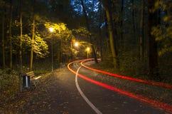 Park in Opole-stad bij nihgt royalty-vrije stock afbeelding