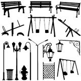 Park outdoor object. Set of park outdoor objects Royalty Free Stock Image