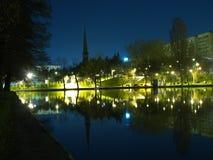Park på natten Fotografering för Bildbyråer