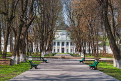 Park and Palace in Kachanovka. Park in the palace and park complex in the village of Kachanivka Tarnowski. Ukraine Stock Photo
