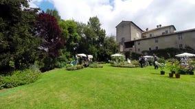 Park Of Palazzo Patrizi - Roses Festival stock footage