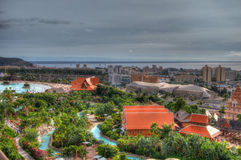 Park with palms and water slides, Tenerife, Canarian Islands Stock Photography