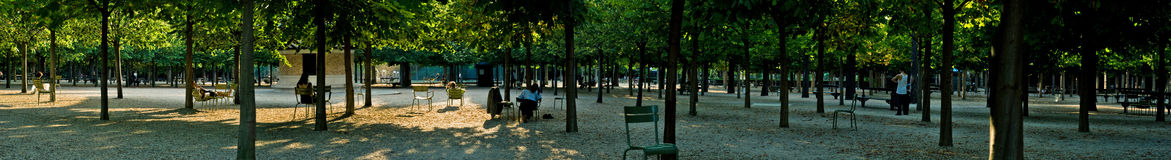 Park panorama. Very wide panorama of a park. Jardin de Luxembourg, Paris, France Royalty Free Stock Photos