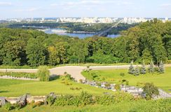 Park and panorama of Kiev Royalty Free Stock Photos