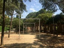 At the park. Parc del Clot, architecture and perspective in Barcelona Royalty Free Stock Photography