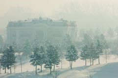 Park. First prizident, lands in the fog in winter Royalty Free Stock Images