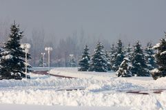 Park. First prizident, lands in the fog in winter. Kazakhstan. Almaty Stock Photos