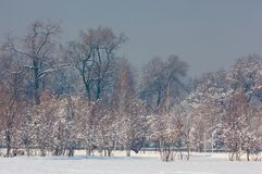 Park. First prizident, lands in the fog in winter. Kazakhstan. Almaty Royalty Free Stock Photography