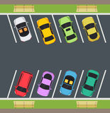 Park with parking places, cars are parked on parking. Royalty Free Stock Images
