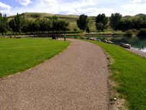 Park Pathway. Pathway in a park located in Medicine Hat, Alberta Stock Photos