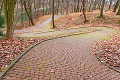 Park paved walkway that runs steeply down Stock Image