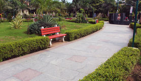 Park Pavement. With benches and plants stock photography
