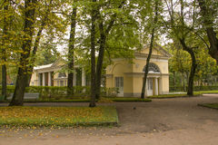 Park pavilion with autumn plants and trees Royalty Free Stock Photo