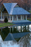 Park Pavilion With Reflection in Pond Royalty Free Stock Photo
