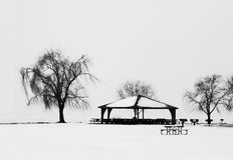Park Pavilion in snow Stock Photo
