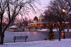 Park Pavillian. Pekin, IL Park Pavillion in December Stock Photography