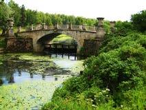 Park in Pavlovsk (Russia), bridge stock photos