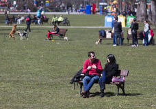 Park people sunny spring Royalty Free Stock Images