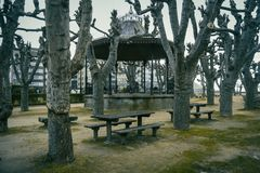 Park with picnic in Baiona, Galicia Spain stock images