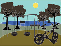Park with playground. Scenic silhouette park playground with lake, trees, bicycle Royalty Free Stock Images