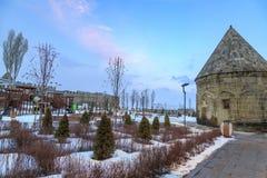 Park and playground area near historical castle of Erzurum in Erzurum, Turkey. In winter stock photography
