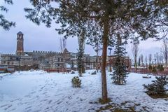Park and playground area near historical castle of Erzurum in Erzurum, Turkey. In winter stock photos