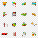 Park playground set icons. In hand drawn style on transparent background Stock Photos