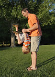 Park Playing. Father playing with son at park Royalty Free Stock Photography