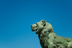Park of the Pleasant Retreat Pond Lion, Madrid Stock Photo