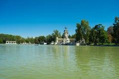 Park of the Pleasant Retreat Pond, Madrid. Pond of the Park of the Pleasant Retreat, Madrid, Spain Stock Photo