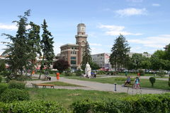 Park in Ploiesti city. People relaxing in a city park in Ploiesti, Romania. Ploiesti is the 9th largest city in Romania and exists since 1596. It is famous for Royalty Free Stock Photo