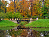 Park and pond at autumn. Park and pond at golden autumn, Russia Stock Photo