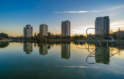 Park with pond in Barcelona. Park Diagonal Mar in Barcelona , Spain stock photos