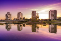 Park with pond in Barcelona. Park Diagonal Mar in Barcelona , Spain royalty free stock images